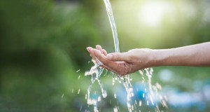 Water pouring in woman hand on nature background, environment issues